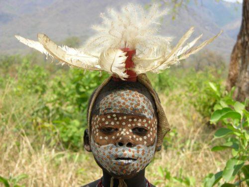 Surma boy in Omo National Park, South West Ethiopia