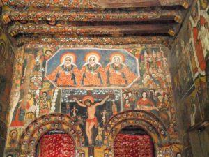 Fresques à l'intérieur de l'église Debre Bihran, Gondar, Ethiopie