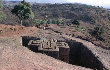 Eglise taillée dans le roc Bet Giorgis a Lalibela, Éthiopie du Nord