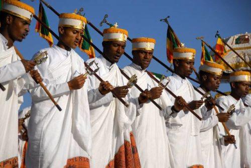 Prêtres à la fête du Timkat, Ethiopie