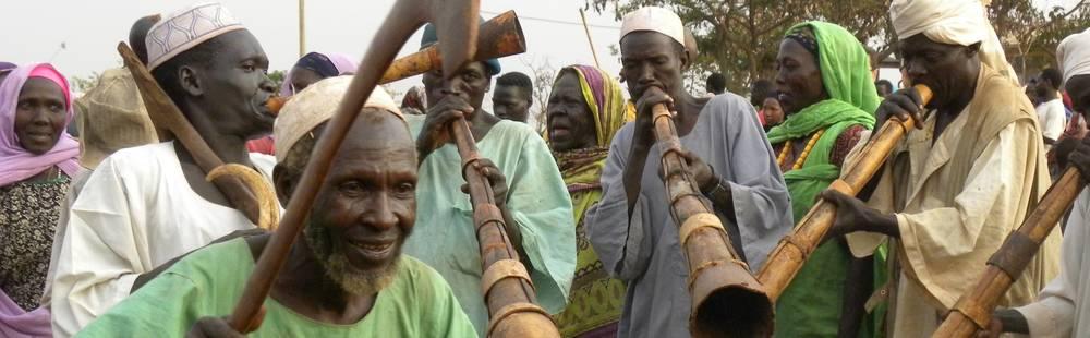Musiciens de la tribu Benishangul avec leurs instruments traditionnels, Ethiopie