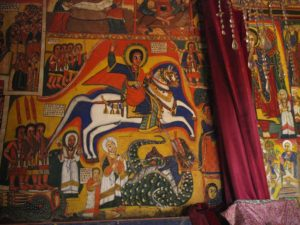 Peinture murale du monastère Ura Kidane Meret, lac Tana, Bahir Dar, Ethiopie