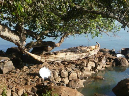 Bateau en papyrus sur le Lac Tana, Bahir Dar, Ethiopie
